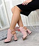Элегантные женские замшевые босоножки на высоком устойчивом каблуке (разные цвета), фото 4