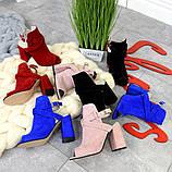 Элегантные женские замшевые босоножки на высоком устойчивом каблуке (разные цвета), фото 2
