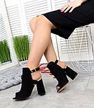 Элегантные женские замшевые босоножки на высоком устойчивом каблуке (разные цвета), фото 5