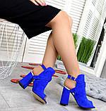 Элегантные женские замшевые босоножки на высоком устойчивом каблуке (разные цвета), фото 10
