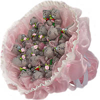 Букет из мягких игрушек Мишки Тэдди 17 в розовом