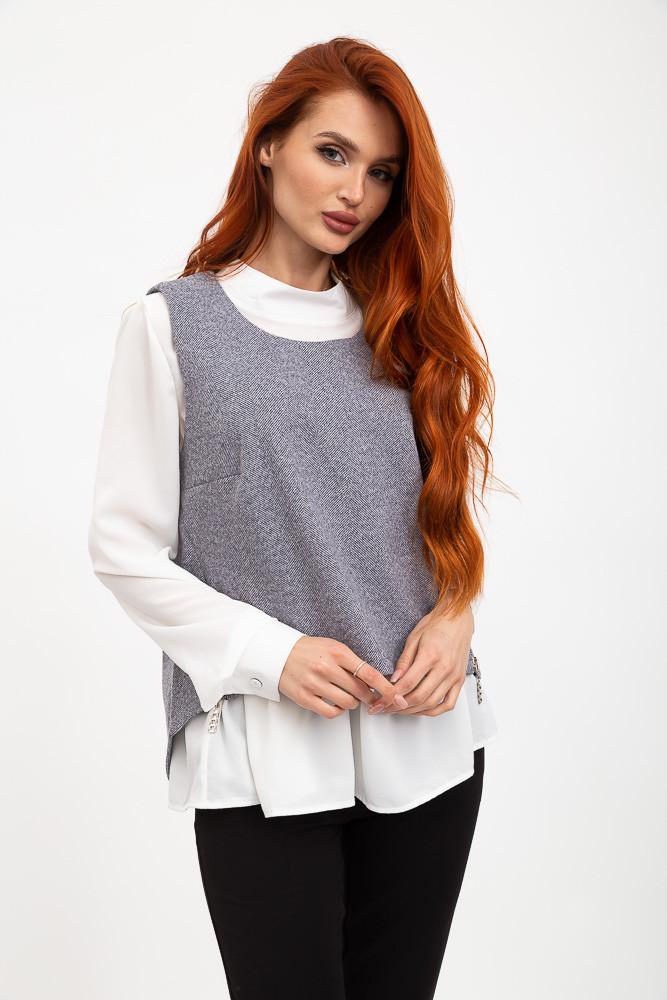 Комплект (двойка) Блуза+жилет цвет Серо-белый