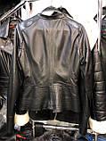 Черная ассиметричная кожаная куртка Турция, фото 2
