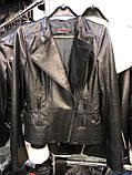 Черная ассиметричная кожаная куртка Турция, фото 3
