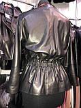 Черная кожаная куртка с пояском про-во Турция, фото 5