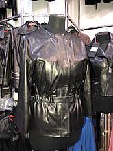 Черная кожаная куртка с пояском про-во Турция