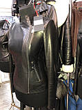 Черная кожаная куртка строгого фасона про-во Турция, фото 3