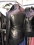Черная классическая кожаная куртка про-во Турция, фото 2