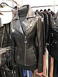 Черная классическая кожаная куртка про-во Турция, фото 5