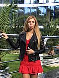 Черная классическая кожаная куртка про-во Турция, фото 6