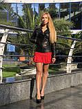 Черная классическая кожаная куртка про-во Турция, фото 7