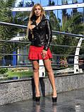 Черная классическая кожаная куртка про-во Турция, фото 8