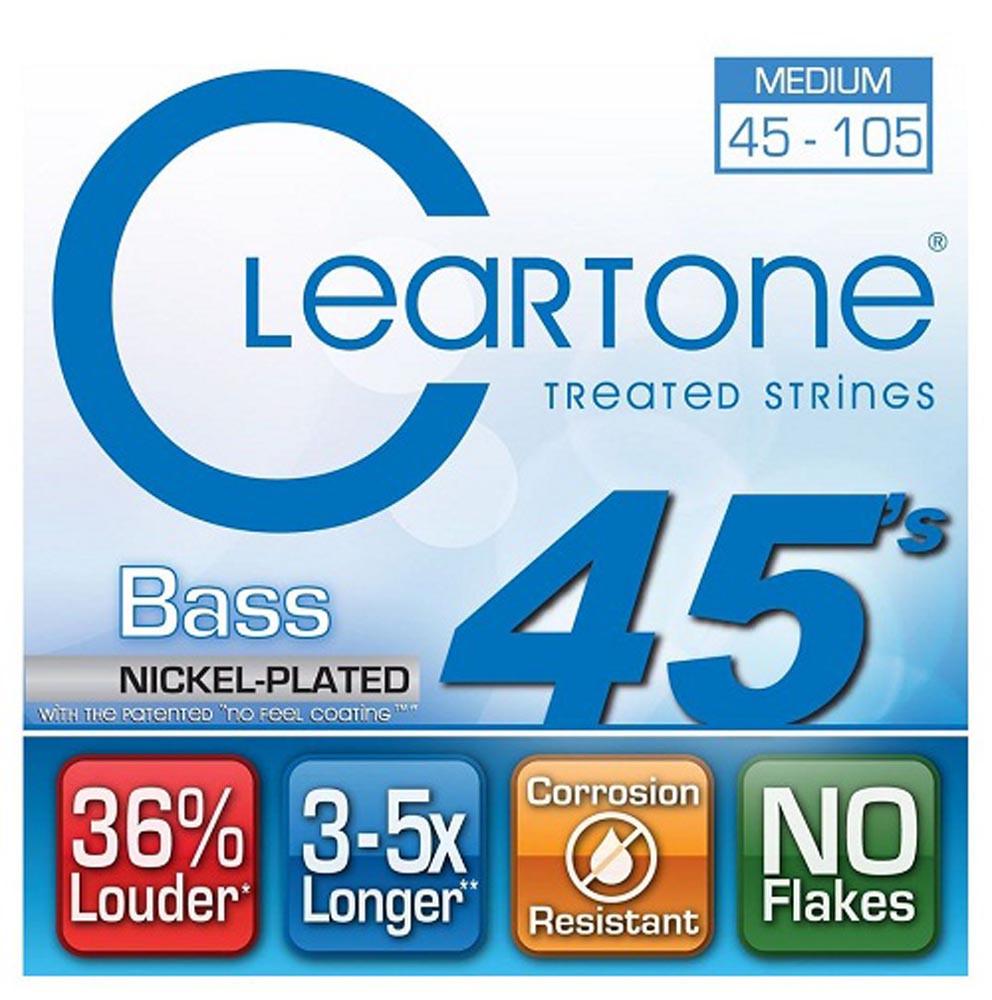 Струны с покрытием для басгитары CLEARTONE 6445 BASS NICKEL-PLATED MEDIUM 45-105