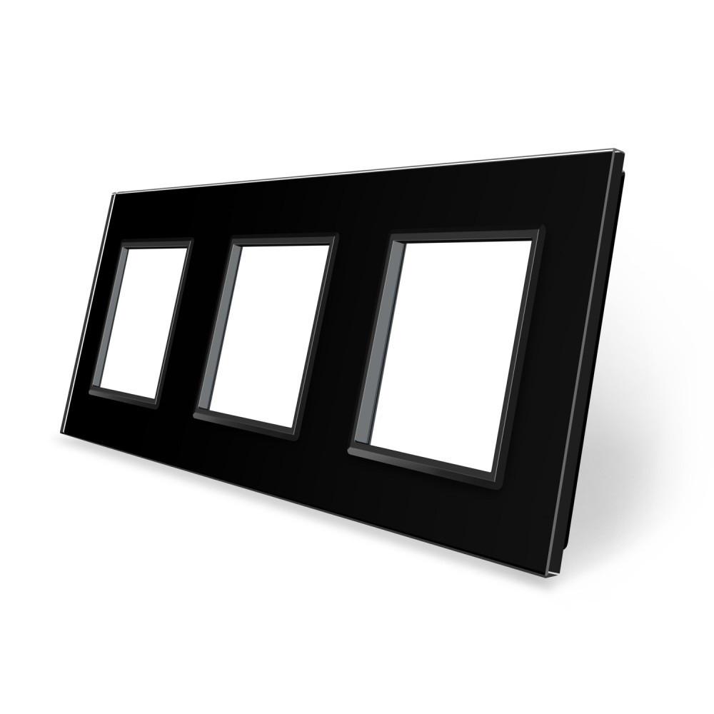 Рамка розетки Livolo 3 поста черный стекло (VL-C7-SR/SR/SR-12)