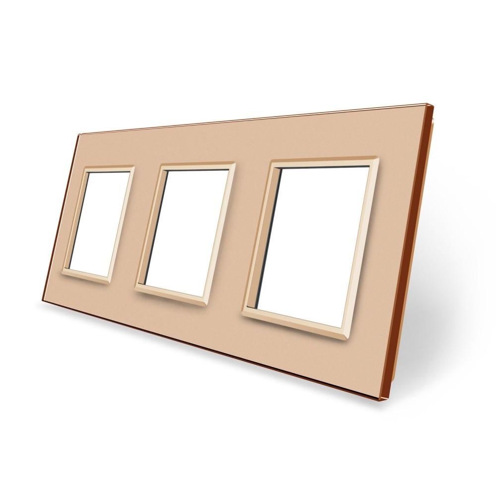 Рамка розетки Livolo 3 поста золото стекло (VL-C7-SR/SR/SR-13)