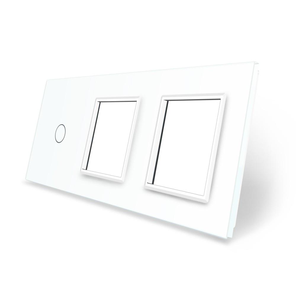 Сенсорная панель выключателя Livolo и двух розеток (1-0-0) белый стекло (VL-C7-C1/SR/SR-11)