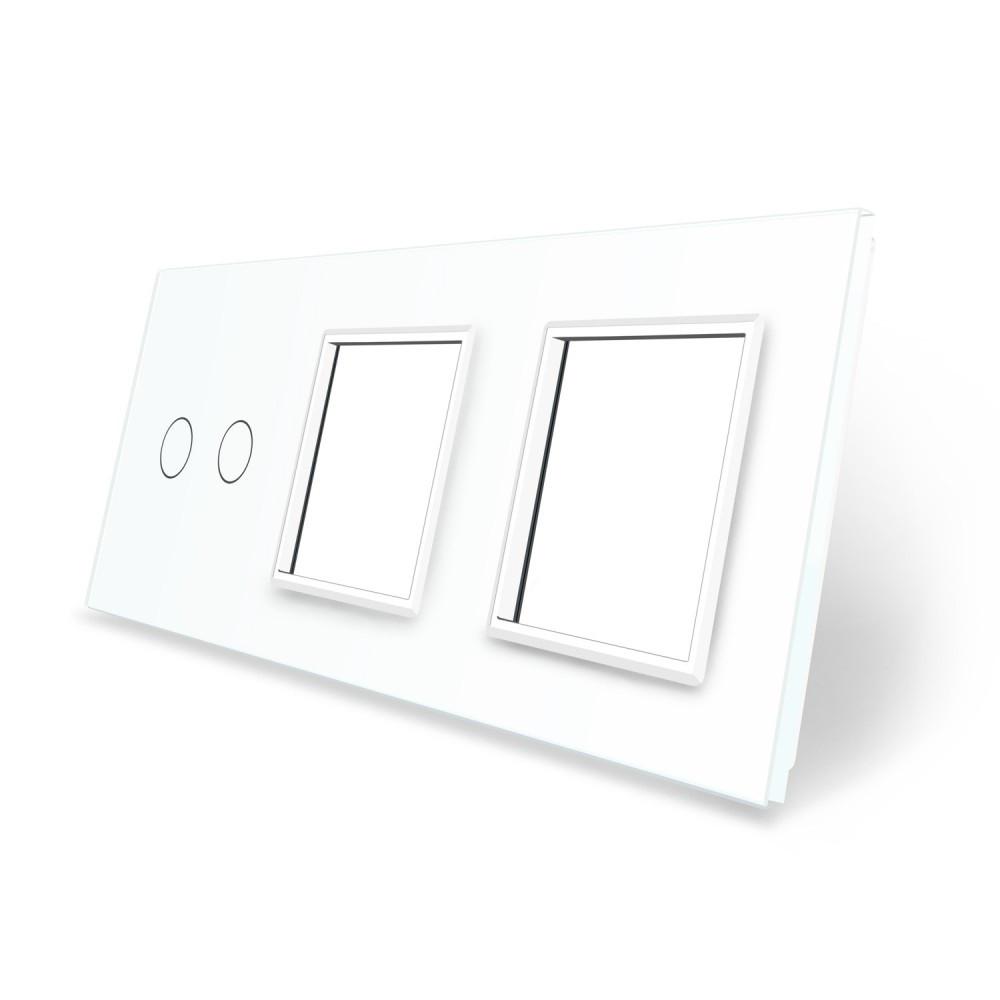 Сенсорная панель выключателя Livolo 2 канала и двух розеток (2-0-0) белый стекло (VL-C7-C2/SR/SR-11)