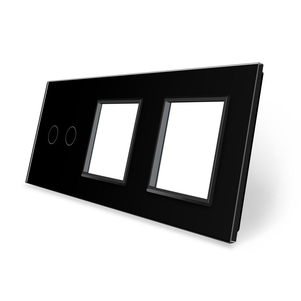 Сенсорная панель выключателя Livolo 2 канала и двух розеток (2-0-0) черный стекло (VL-C7-C2/SR/SR-12)
