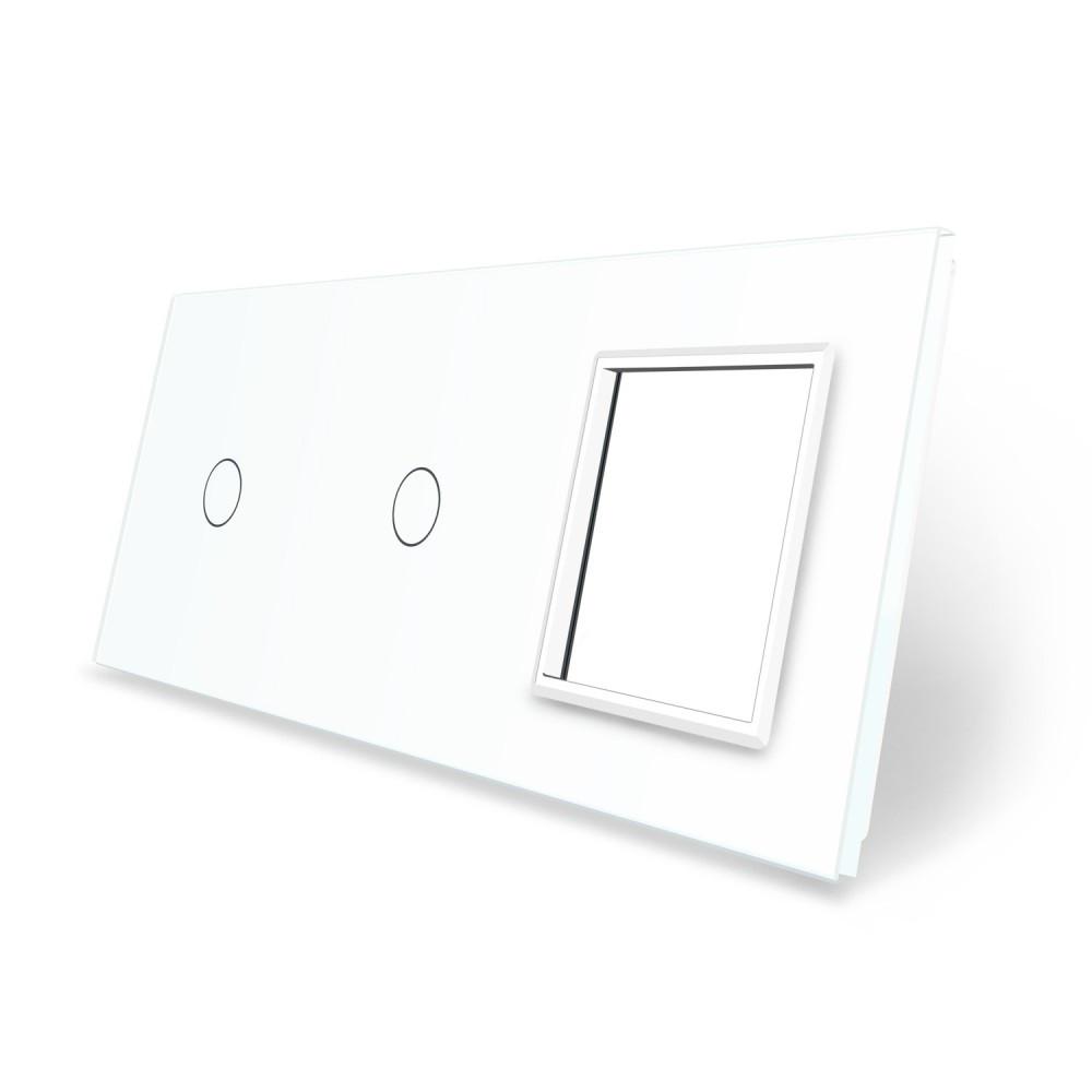 Сенсорная панель выключателя Livolo 2 канала и розетку (1-1-0) белый стекло (VL-C7-C1/C1/SR-11)