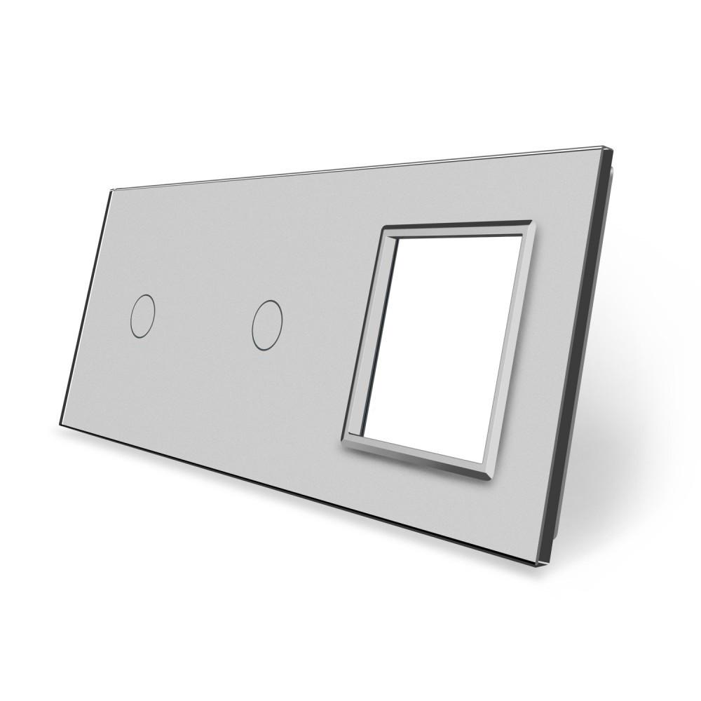 Сенсорная панель выключателя Livolo 2 канала и розетку (1-1-0) серый стекло (VL-C7-C1/C1/SR-15)
