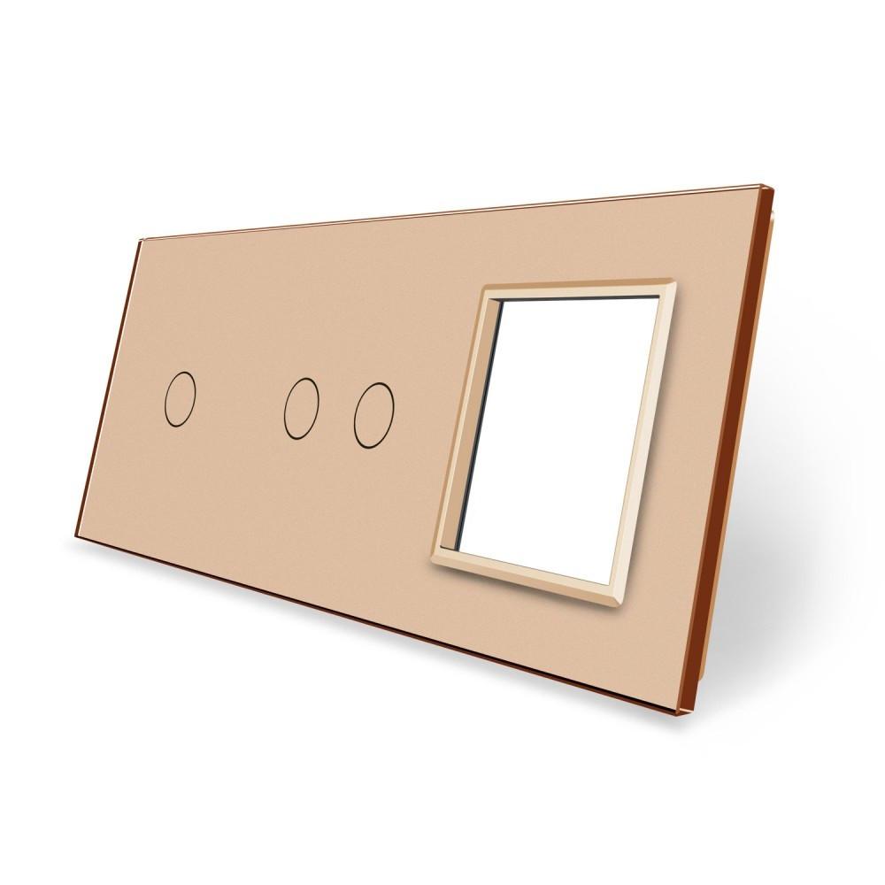 Сенсорная панель выключателя Livolo 3 каналов и розетку (1-2-0) золото стекло (VL-C7-C1/C2/SR-13)