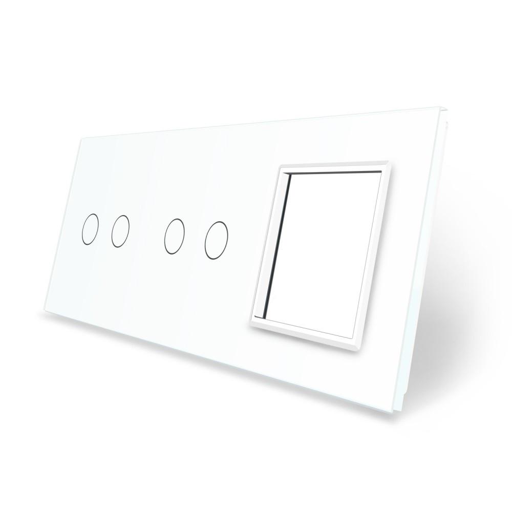 Сенсорная панель выключателя Livolo 4 канала и розетку (2-2-0) белый стекло (VL-C7-C2/C2/SR-11)