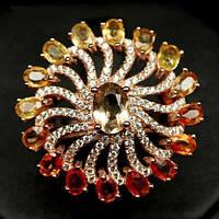 Кольцо с натуральными цветными Сапфирами, Цитрином и фианитами