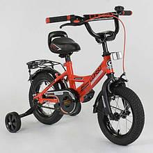 """Велосипед 12"""" дюймов 2-х колёсный  """"CORSO"""" CL-12 D 0106 (1)КРАСНЫЙ, ручной тормоз, звоночек, сидение с ручкой, доп. колеса, СОБРАННЫЙ НА 75 в коробке"""