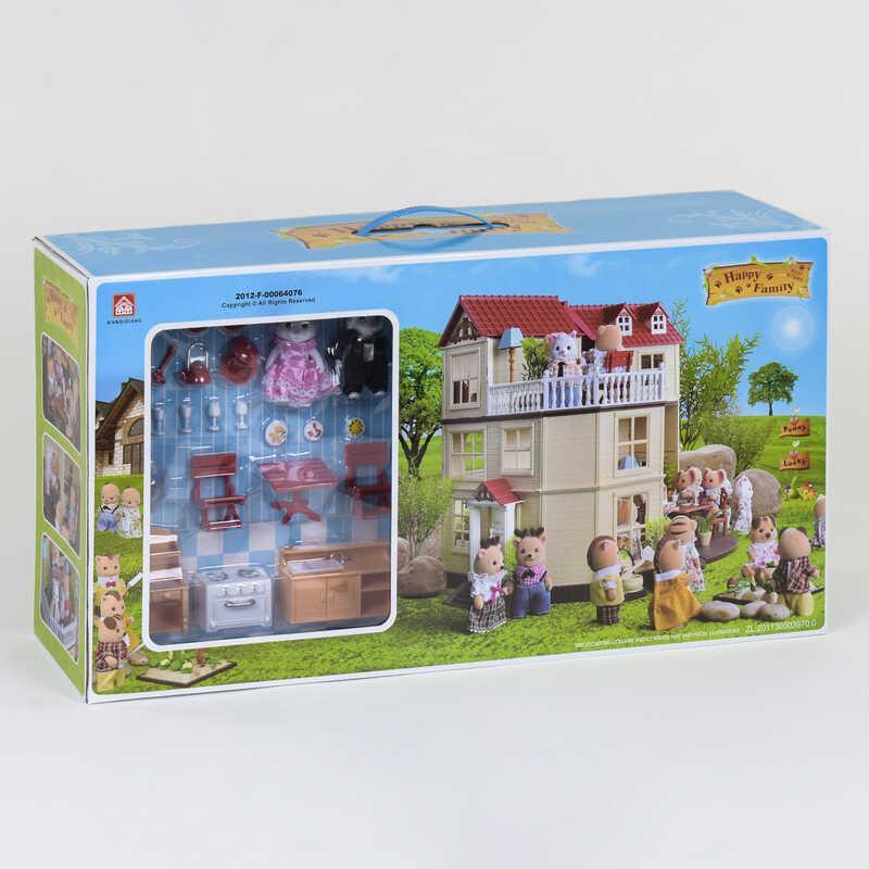 """Вилла """"Счастливая семья"""" 012-10 (6) мебель, 2 фигурки, подсветка, в коробке"""