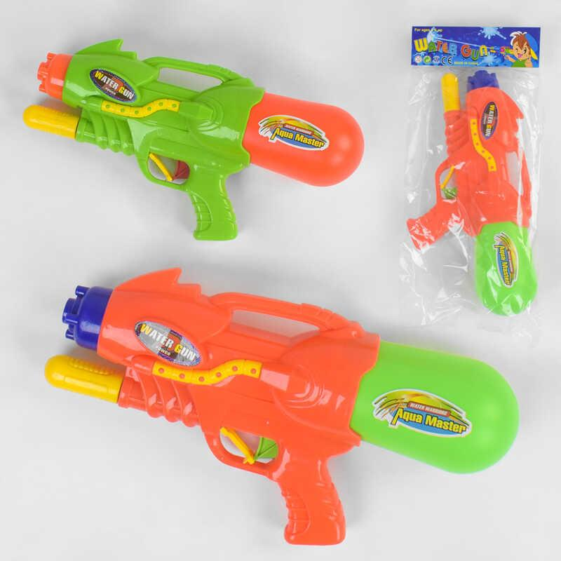 Водный пистолет 381 (72/2) 2 цвета, с накачкой, в кульке