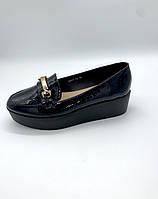Лаковые черные  туфли  на танкетке, фото 1