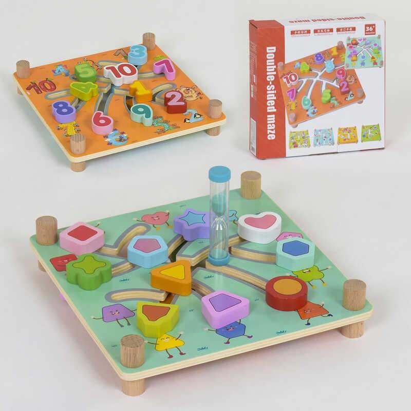 Деревянная игра Лабиринт C 40003 (60) с песочными часами, 2 вида, в коробке