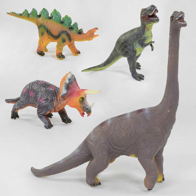 Динозавр музыкальный SDH 359-20/24/25/39 (24/2) 58см, 4 вида, мягкий, резиновый, подсветка механизма, в коробке