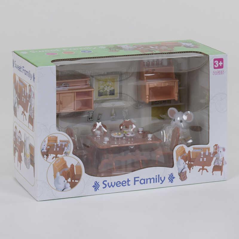 """Набор мебели для столовой 1601 F """"Счастливая семья"""" (12) 2 персонажа флоксовых, в коробке"""