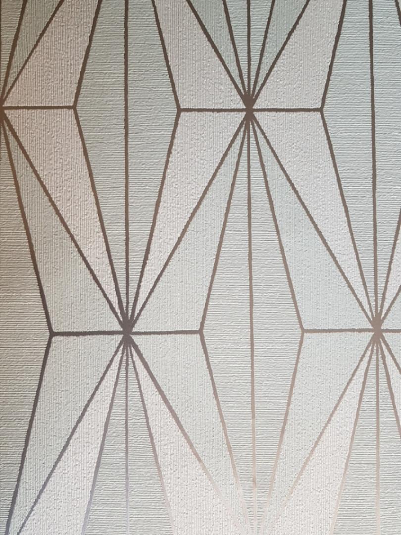 Обои виниловые на флизелине Marburg 82180 Giulia геометрия фигуры ромбы бирюзовые белые полосы серебристые  3д