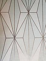 Обои виниловые на флизелине Marburg 82180 Giulia геометрия фигуры ромбы бирюзовые белые полосы серебристые  3д, фото 1