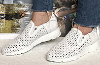Женские кожаные летние мокасины слипоны в дырочку Valentino белая кожа, фото 1
