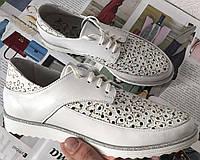 Женские кожаные летние туфли мокасины на шнурках с перфорацией Valentino, фото 1