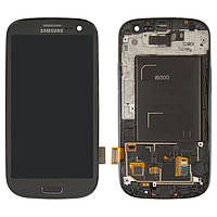 Дисплейный модуль (дисплей + сенсор) для Samsung Galaxy S3 i9300, c рамкой, серый, оригинал