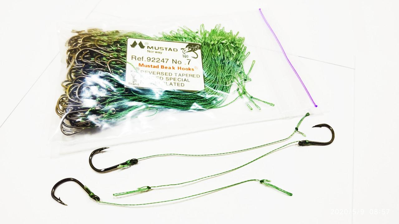 Рыболовный крючок с поводком Mustad № 7 ( упаковка 100 штук )
