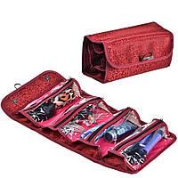 Косметичка Roll N Go Cosmetic Bag, дорожный органайзер на 4 отделения, бордовая