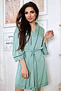 Халат шёлковый женский бирюзовый, фото 3