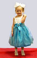 Нарядное платье для девочки голубое с бантом и стразами