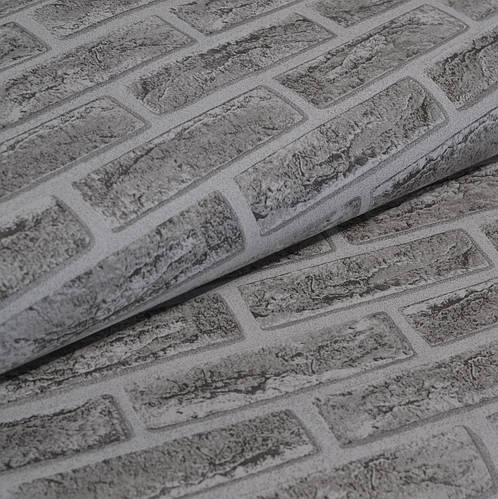 Обои для стен шпалери вологостійкі під цеглу сірі бумажные влагостойкие серые кирпич 0,53*10м