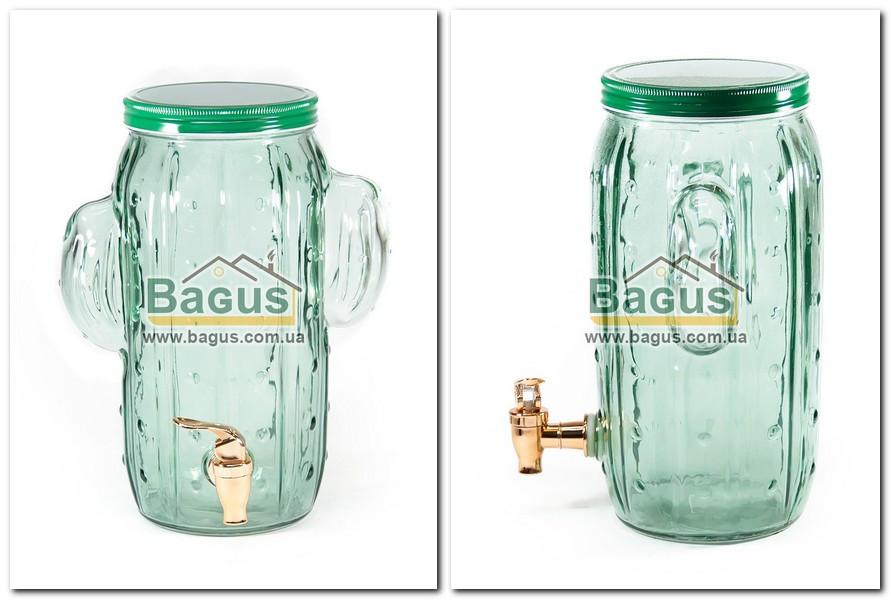 """Емкость для напитков (лимонадница) 3,5л стеклянная ЗЕЛЕНАЯ с краником """"Кактус"""" R29777 (H7024)"""