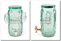 """Емкость для напитков (лимонадница) 3,5л стеклянная ЗЕЛЕНАЯ с краником """"Кактус"""" R29777 (H7024), фото 1"""