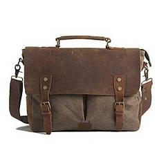 Портфель мужской кожаный винтажный Akarmy коричневый