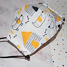 Детская маска защитная трехслойная многоразовая. Видео обзор. Мягкая резинка, фото 5
