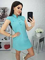 Летнее стильное короткое платье-туника с мелким принтом (р.42-48). Арт-3603/22, фото 1