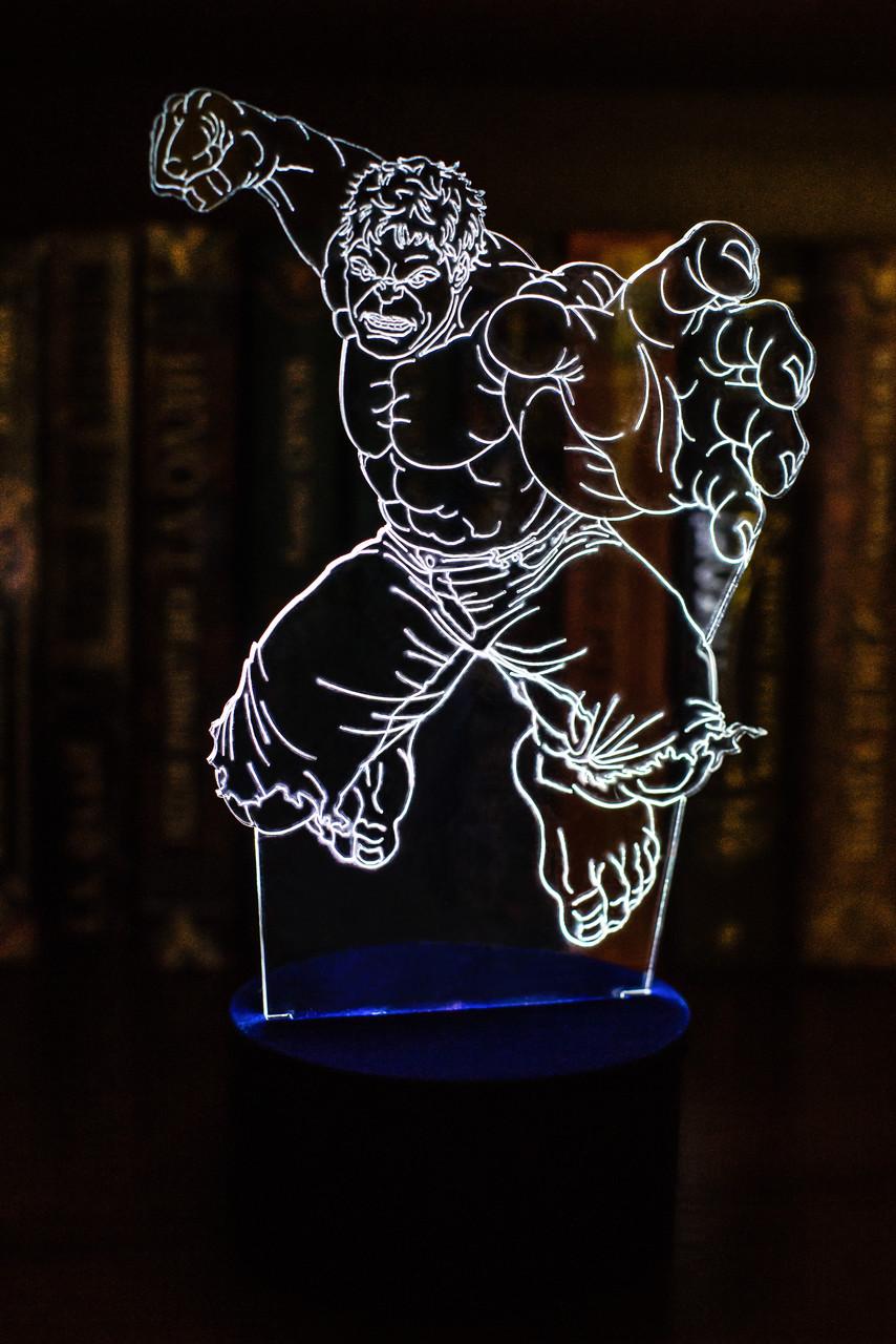 3d-светильник Халк, 3д-ночник, несколько подсветок (на батарейке), подарок в стиле марвел